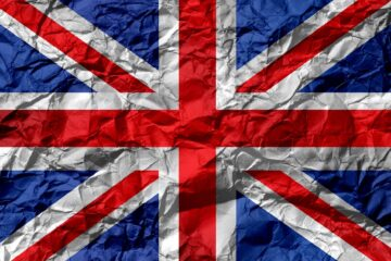 uk flag on creased paper