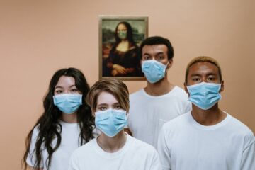 Coronavirus health workers wearing face mask